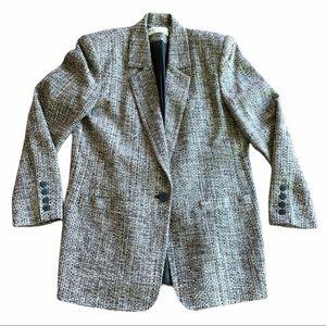VTG Valerie Stevens Tweed Silk Blazer Black Gray 8